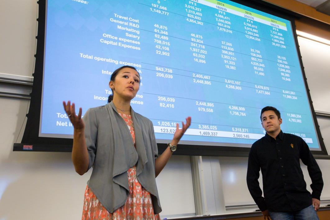 Siblings pitch their idea at an entrepreneurship competition