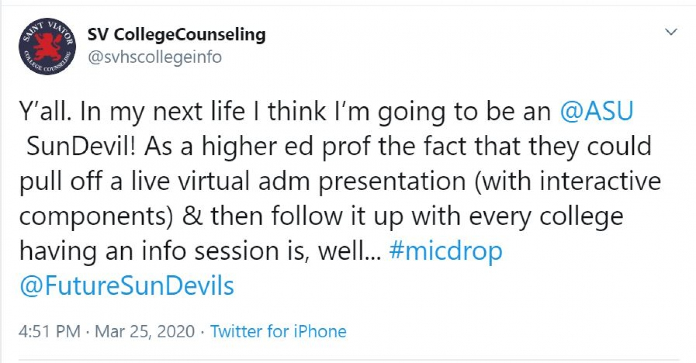 Screenshot of a tweet about admissions at ASU