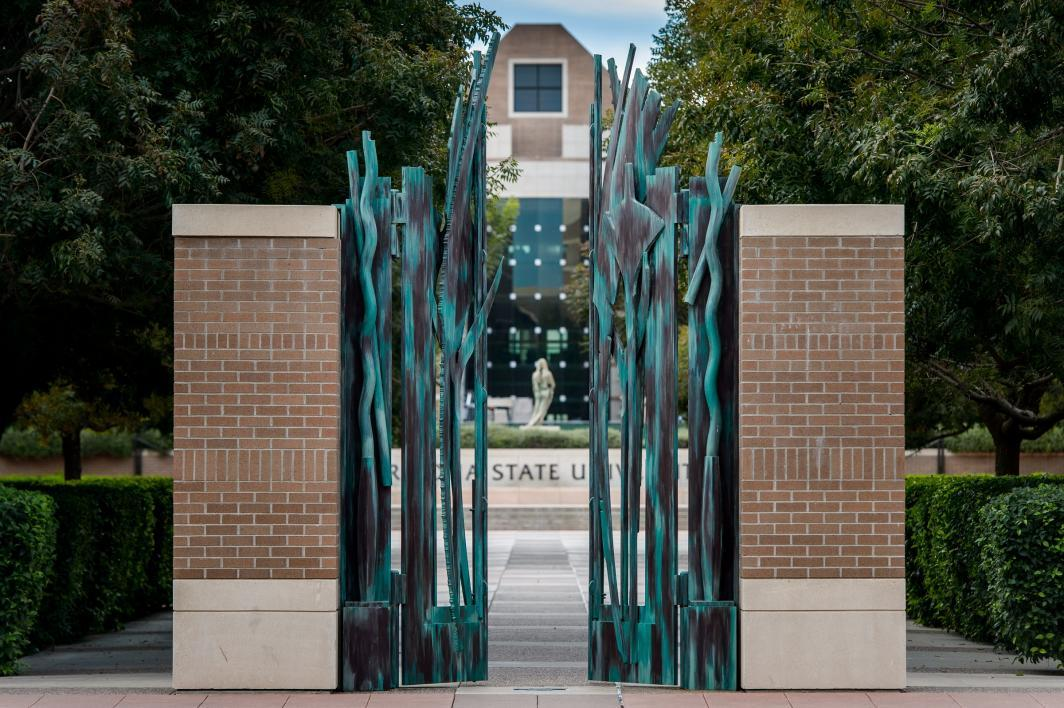 decorative gates on a college campus