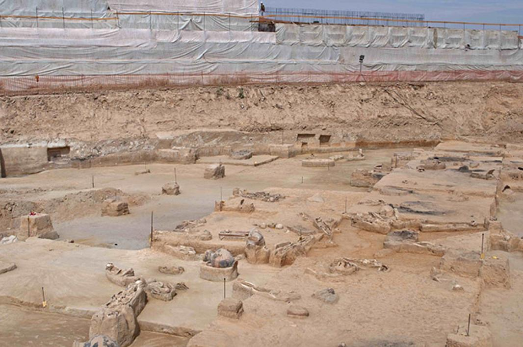 General view of a dig at an ancient cemetery in Greece.