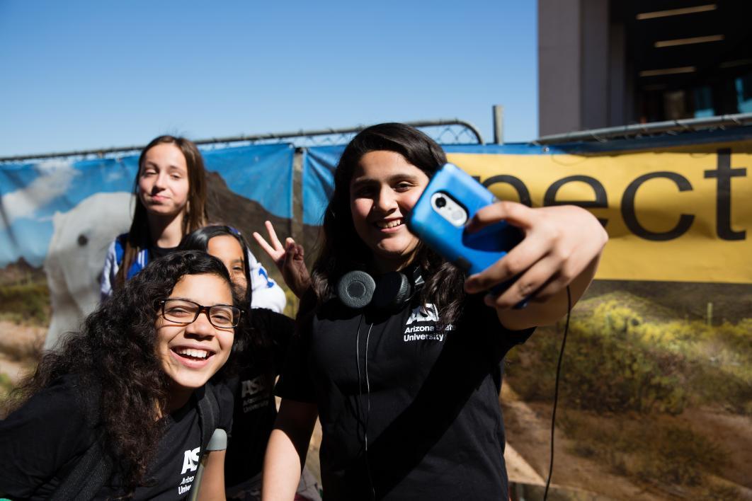 Sixth-graders take a selfie at Tempe Open Door