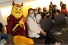 Sparky poses for pictures at welcome event inside the ASU California Center.