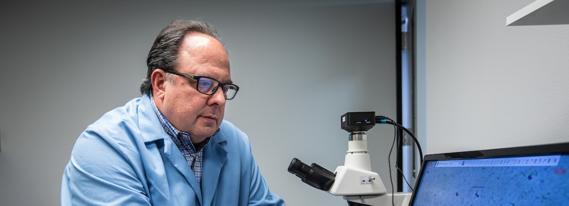 Mechnano's co-founder and chairman Steve Lowder takes measurements on carbon nanotube clusters