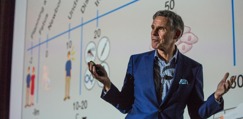 man giving a talk