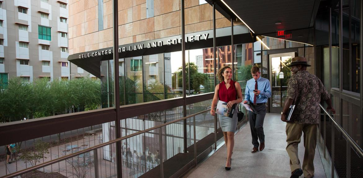 Visitors tour the new law building in downtown Phoenix.