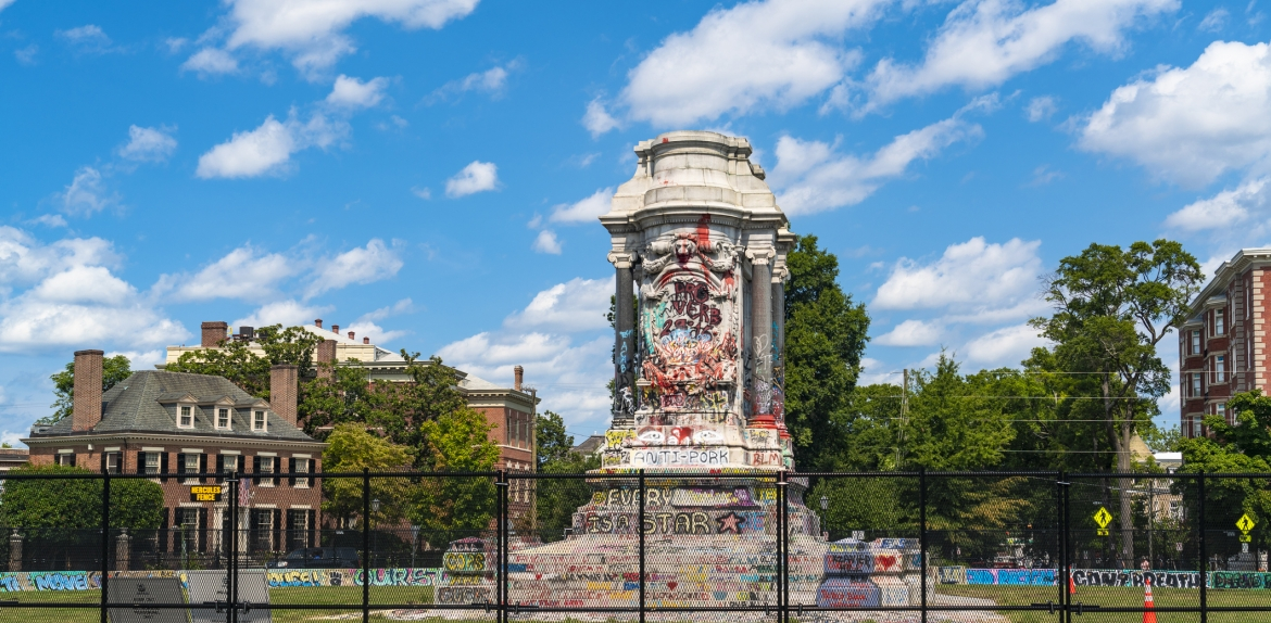 Base of the Robert E. Lee monument in Richmond, Virginia, after his statue was removed from the top. The base is covered in graffiti from racial protests.