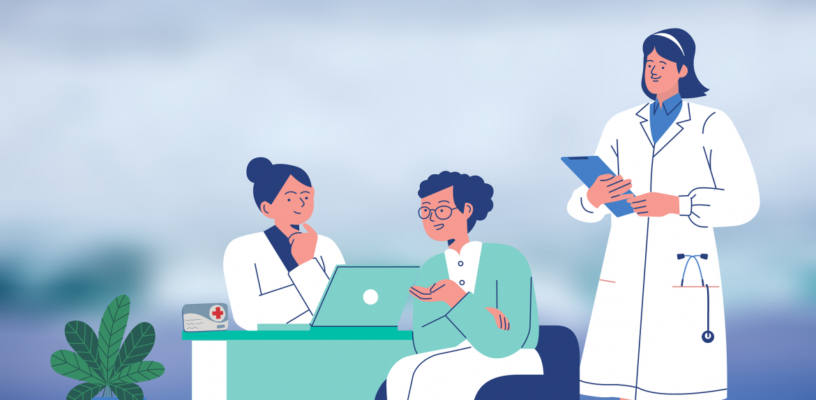 illustration of health care professionals chatting with each other
