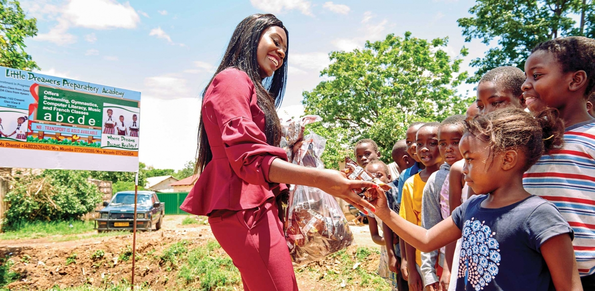 ASU Rhodes Scholar Shantel Marekera works with young children