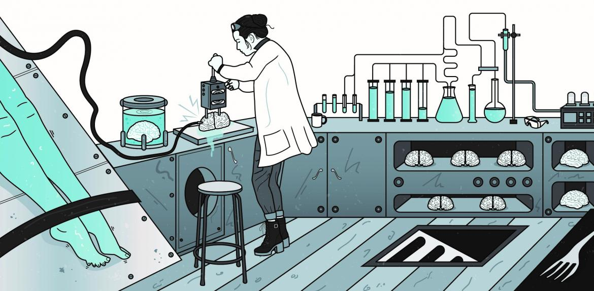 illustration of person in a lab making a zombie