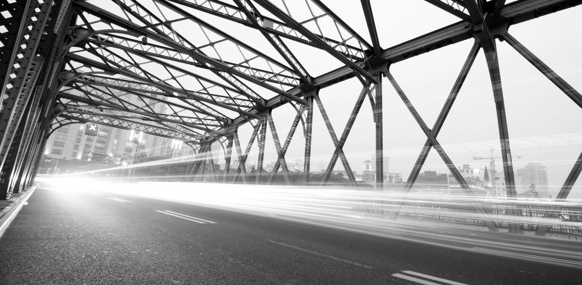 A highway bridge shown in black and white