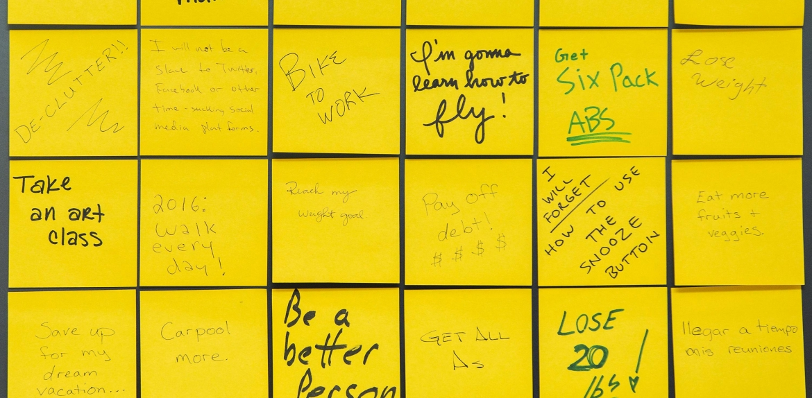 Post-It notes showing various hand-written resolutions