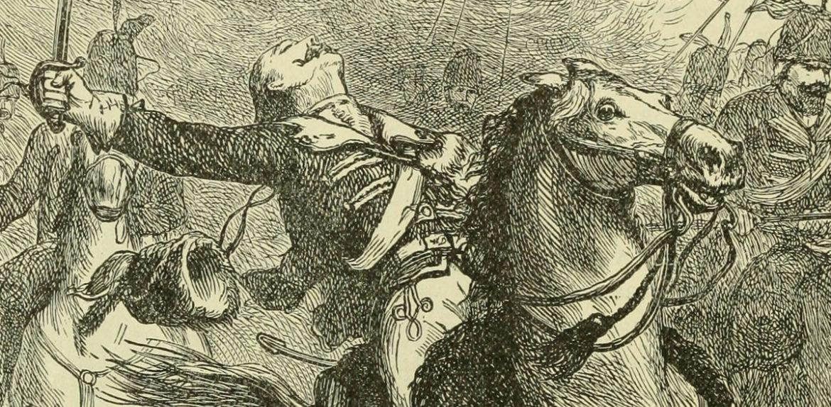 Engraving of Casimir Pulaski wounded at Battle of Savannah