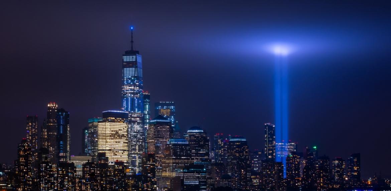 Memorial spotlights light up the spot in New York where the World Trade Center stood