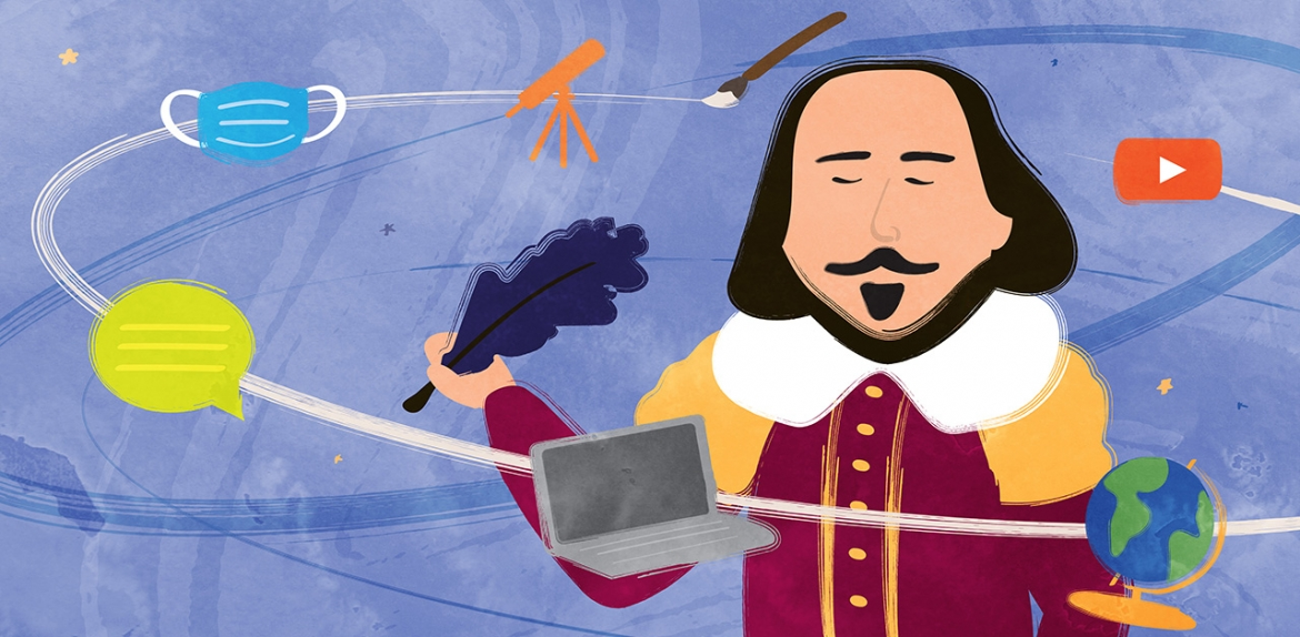 illustration of Shakespeare holding pen with modern object surrounding him