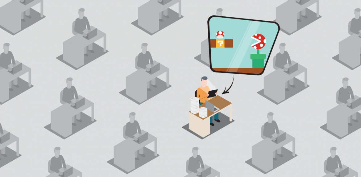 Illustration of office worker playing video game in cube farm