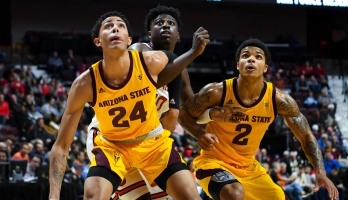 ASU basketball players during a game
