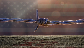Flag and barbed wire