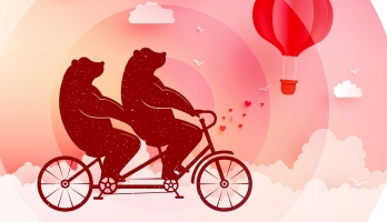two bears riding a tandem bicycle