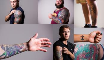 A collage of ASU veterans tattoos