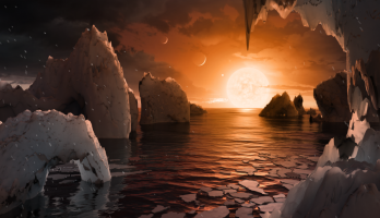 artist's conception of the view from the surface of the exoplanet TRAPPIST-1f