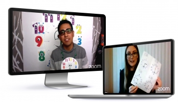 Photo illustration of two student teachers using Zoom