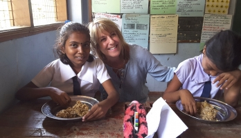 woman with students in Sri Lanka