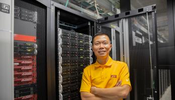 man in computing lab
