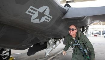 Man underneath F-35