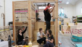 Students work on the Inter Play installation at The Design School at ASU.