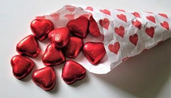 Chocolate hearts in a bag