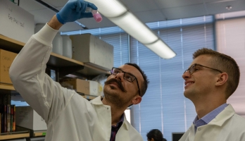 ASU doctoral student Babak Moghadas and research scientist Jacob Knittel examine a small bottle of pink oxygen sensing nanoprobe solution