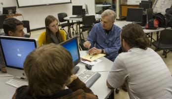 ASU professor interacting with students