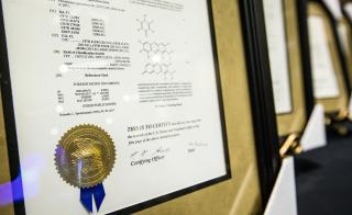 A framed patent on display at the ASU inventors luncheon