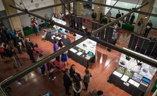 view of exhibit floor showcasing ASU student projects
