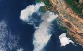 A satellite image of smoke from California wildfires