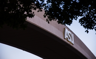 ASU sign on bridge