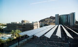 solar panels on parking garage roof