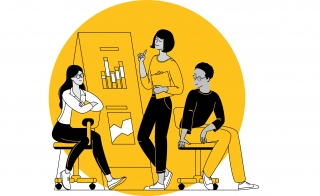 An illustration showing three young people at work, two in chairs watching the one standing and gesturing to a presentation board