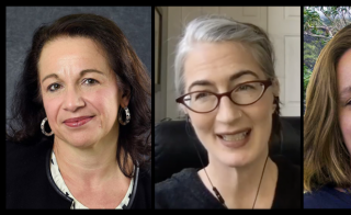 collage of headshots of four female editors-in-chief of new mathematics journal