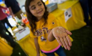 A girl holds a bubble on her hand from the 2015 Homecoming Block Party