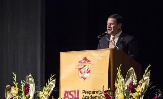Gov. Doug Ducey speaks at the ASU Prep-Downtown commencement.