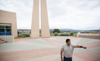 Ken Lucero gives a tour of the T'Siya Day School in New Mexico