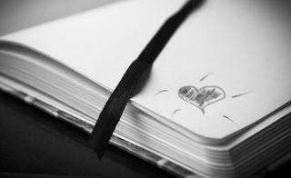 doodle of a heart on a journal page