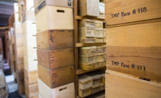 Stacks of boxes in the storeroom of the Teotihuacan Research Laboratory