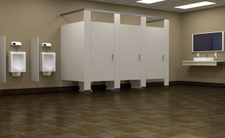 digital rendering of a public restroom