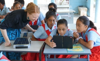 Laura Hosman works with kids and SolarSPELL in Samoa