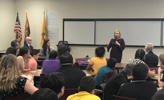 Phoenix Mayor Kate Gallego Speaks with Creighton district middle schoolers about service and leadership.