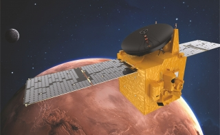 artist's impression of the United Arab Emirates' Hope spacecraft in orbit around Mars