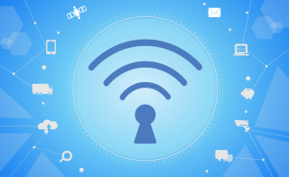 Wi-Fi connectivity emanates from a lock icon, surrounded by symbols representing different facets of the internet of things. Banner illustration by Changwha Kyung