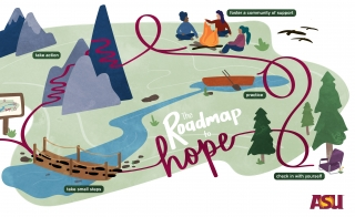 """An illustration of rivers, mountains and forests, reading """"the Roadmap to Hope."""""""
